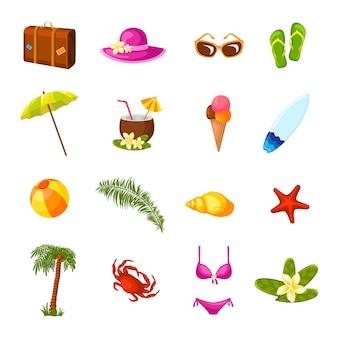 Mehrfarbige ikonen des strandes eingestellt