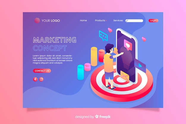 Mehrfarbige isometrische marketingkonzept-landingpage