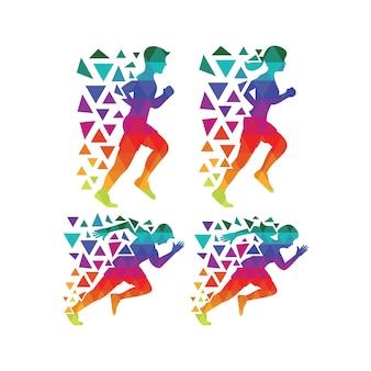 Mehrfarbige laufende silhouette sammlung