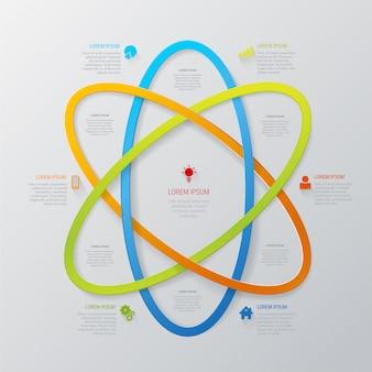 Mehrfarbige linienbereich-abstrakte technologie-infografikschablone im atomstil.