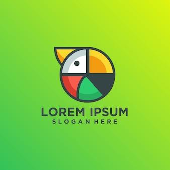 Mehrfarbige logoschablone des modernen abstrakten papageien