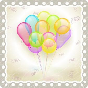 Mehrfarbige luftballons des vektors im alten weinleserahmen