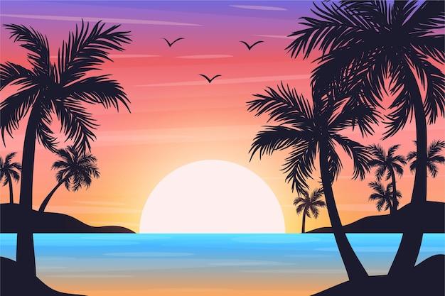 Mehrfarbige palm silhouetten tapete