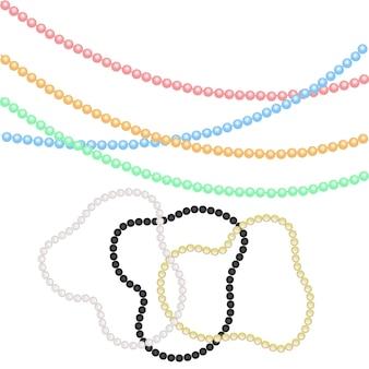 Mehrfarbige perlen und armbänder aus perlen für festliche dekoration für die feiertage von weihnachten, neujahr. für karneval, karneval, partys.