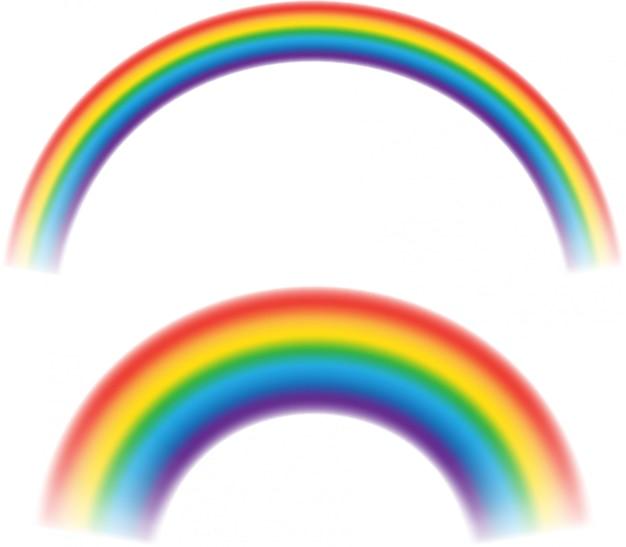 Mehrfarbige regenbogenstreifen lokalisiert auf weißem hintergrund. rundbogen der spektrumfarben.