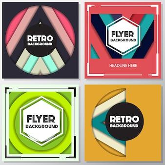 Mehrfarbige retro-flyer-kollektion
