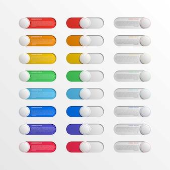 Mehrfarbige runde schalterschnittstellentasten mit textfeldern