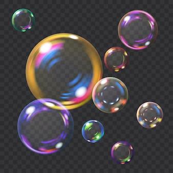 Mehrfarbige transparente seifenblasen mit blendungen