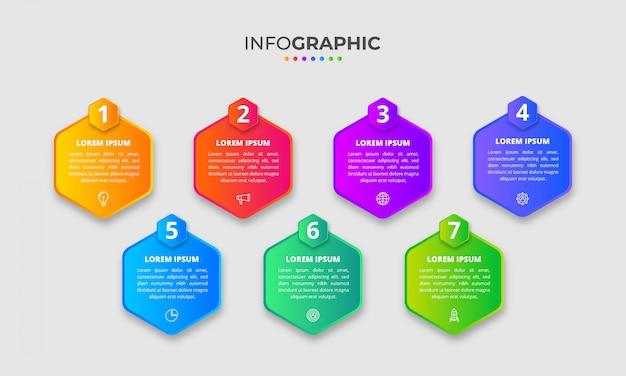 Mehrfarbige verlaufsinfografik mit optionen oder schritten