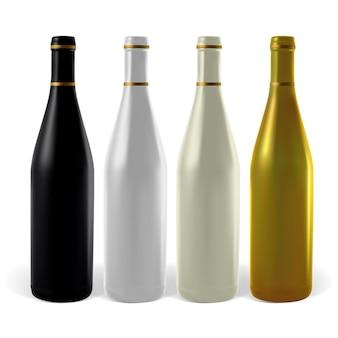 Mehrfarbige weinflaschen. die abbildung enthält verlaufsnetze.