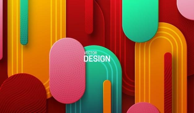 Mehrfarbiger papercut-hintergrund mit abstrakten geometrischen formen, die mit gravierten mustern strukturiert sind