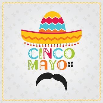 Mehrfarbiger plakat-designhintergrund cinco des mayo-feiertags
