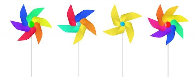 Mehrfarbiger spielzeugpapier-windmühlenpropeller.