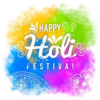 Mehrfarbiges hand gezeichnetes holi festival