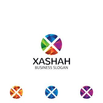 Mehrfarbiges logo des buchstaben x