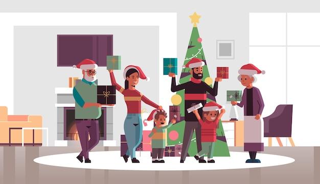 Mehrgenerationenfamilie mit geschenkgeschenkboxen, die zusammen frohe weihnachten frohes neues jahr-feiertagsfeierkonzept modernes wohnzimmerinnenraum flache horizontale vektorillustration in voller länge stehen