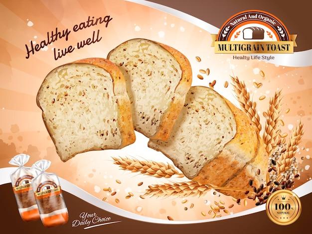 Mehrkorn-toast-anzeigen, gesunder und natürlicher geschnittener toast, der mit körnern in der luft schwebt, 3d-darstellung