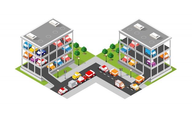 Mehrstöckiges parkhaus der verkehrstransportstadt