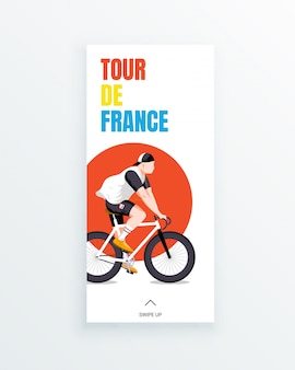 Mehrstufige fahrradrennen-social-media-story-vorlage der tour de france-männer mit jungem radrennfahrer auf rotem kreishintergrund. sportwettkämpfe und outdoor-aktivitäten. sportbekleidung und ausrüstung.