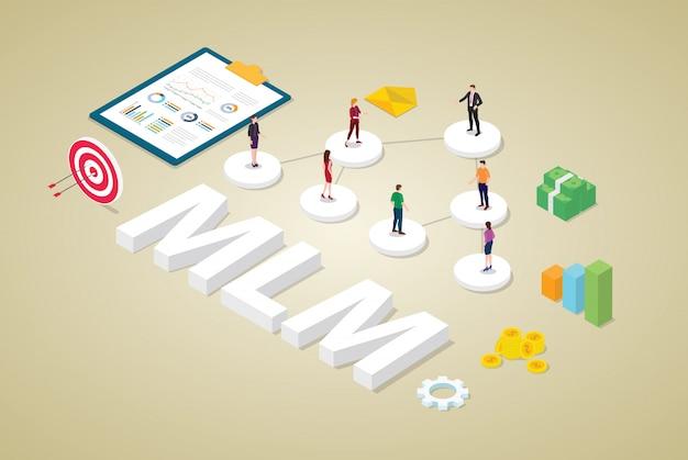 Mehrstufiges marketing-geschäftskonzept mit binärem baumkonzept des teamleuteentwurfs mit geld und isometrischer art