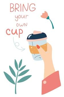 Mehrwegbecher für getränke in frauenhänden bringen sie ihre eigene tasse mit banner für kaffeehaus und café