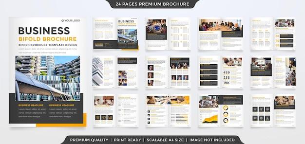 Mehrzweck-business-bifold-broschürendesign mit modernem layout und minimalistischem konzeptstil für die präsentation von geschäftsprofilen und vorschlägen