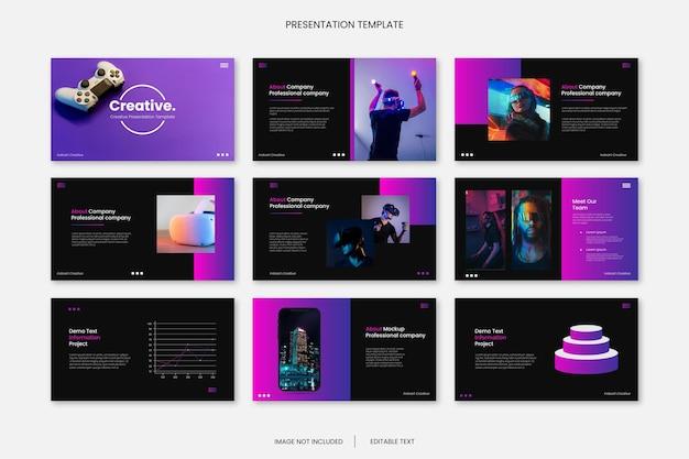 Mehrzweck-geschäftsfolien-präsentationsvorlage mit kreativem farbverlauf