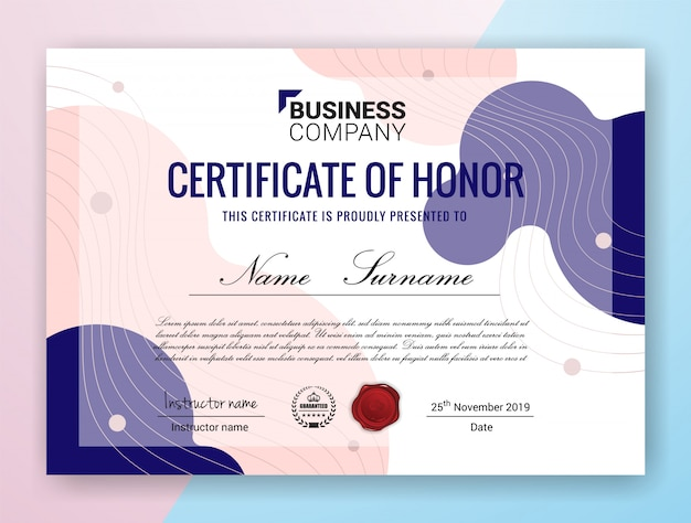 Mehrzweck professional certificate template design
