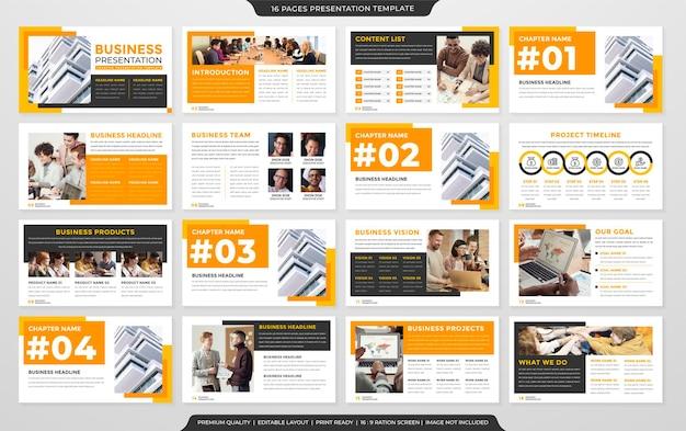 Mehrzweck-unternehmenspräsentations-layout-vorlage mit minimalistischem stil