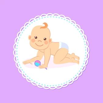 Meilenstein-baby des sechsmonatigen stehens auf knien