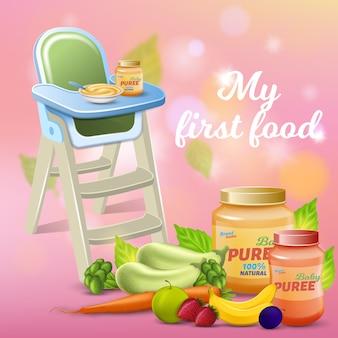 Mein erstes essen promo banner, frisches baby-frühstück