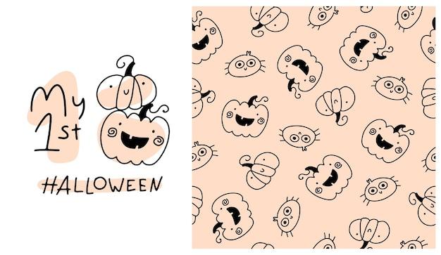 Mein erstes halloween nahtloses muster süße feiertagskürbisse im einfachen handgezeichneten cartoon-doodle