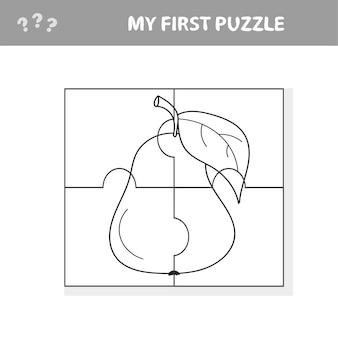 Mein erstes puzzle - früchte, puzzle- und malbuchaufgabe, spiel für kinder im vorschulalter. birne