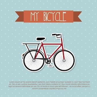 Mein fahrrad über punktierter hintergrundvektorillustration