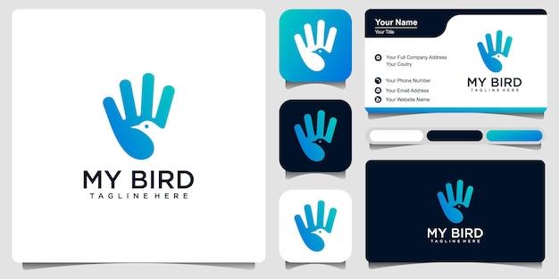 Mein vogellogo. kombination hand und vogel. negativer raumstil. premium-design-vektor