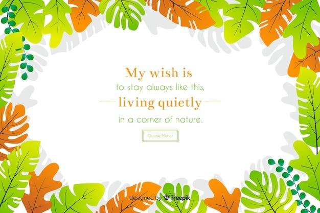 Mein wunsch ist es, immer so zu bleiben und ruhig in einer ecke der natur zu leben. schriftzug zitat mit floralen thema und blumen