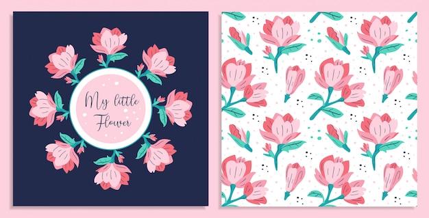 Meine kleine blume. kleine rosa magnolienblumenkarten.
