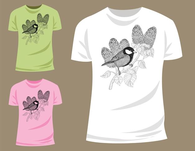 Meise auf zweig der lila shirt-grafik
