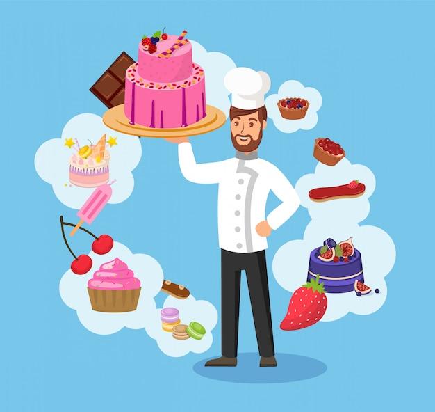 Meisterkoch mit bäckerei-farbvektor-illustration