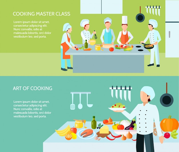 Meisterkurs und kunst des kulinarischen flachen farbfahnensatzes kochen