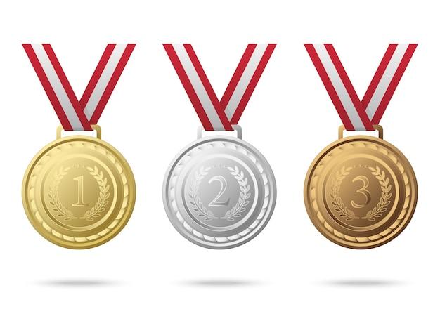 Meisterschaftsmedaillen von den nummern eins bis drei