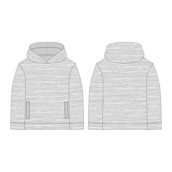 Melange stoff hoodie. technische zeichnung kinderkleidung. technische skizze hoody für männer. technisches design. sportbekleidung, uniformkleidung. vektormodeillustration.