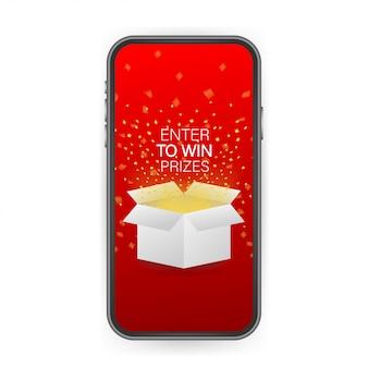 Melden sie sich an, um preise zu gewinnen. öffnen sie die rote geschenkbox und konfetti auf dem smartphone-bildschirm. preis gewinnen. lager illustration.