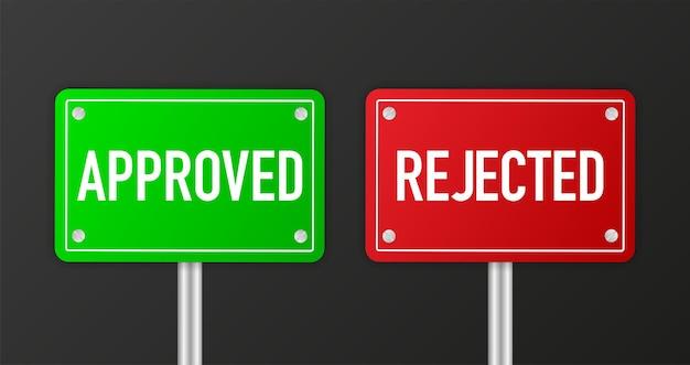 Melden sie sich auf der vorlage für den türladen an. genehmigt und abgelehnt in grünem und rotem banner. vektor-illustration.
