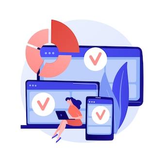 Melden sie sich bei mehreren geräten an. responsive app-design. wifi-zone für gadgets. online-kommunikation, soziale netzwerke, webverbindung. anmeldung initialisieren. vektor isolierte konzeptmetapherillustration.