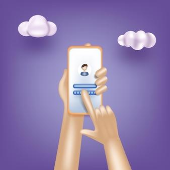 Melden sie sich in einem online-konto über die sichere anmeldung und das passwort der smartphone-app an d vektorgrafiken