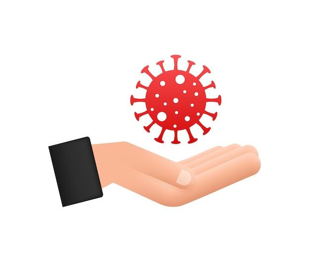 Melden sie vorsicht coronavirus in den händen coronavirus-gefahr und risiko für die öffentliche gesundheit, krankheit und grippeausbruch