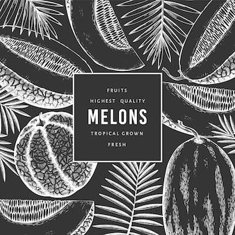 Melonen mit tropischer blätterentwurfsschablone