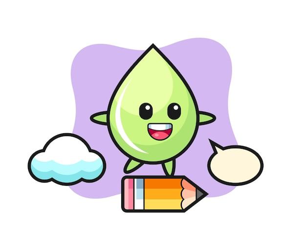 Melonensaft-tropfen-maskottchen-illustration, die auf einem riesigen bleistift reitet, niedliches design für t-shirt, aufkleber, logo-element