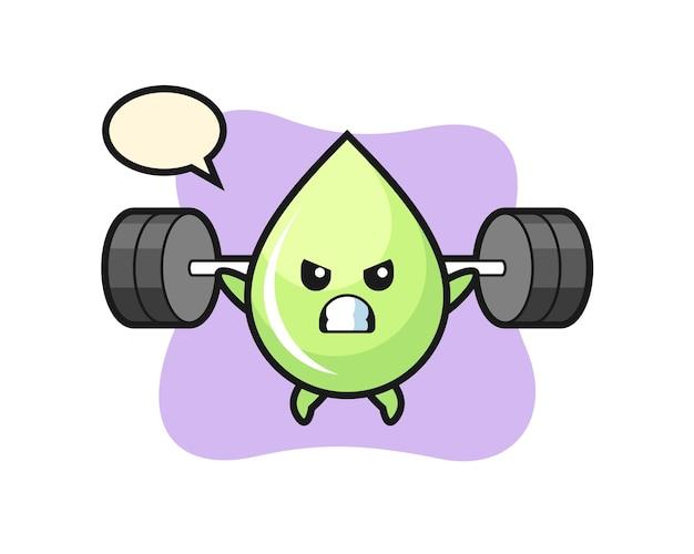 Melonensafttropfen-maskottchen-cartoon mit einer langhantel, süßes design für t-shirt, aufkleber, logo-element